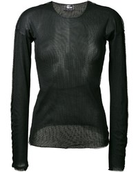 Camiseta de manga larga de malla negra