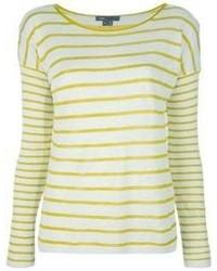 Camiseta de manga larga de rayas horizontales amarilla de Vince