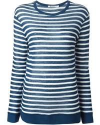 Camiseta de manga larga de rayas horizontales azul marino de Alexander Wang