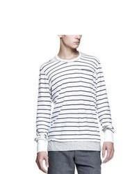 Camiseta de manga larga de rayas horizontales blanca