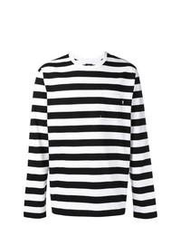 Camiseta de Manga Larga de Rayas Horizontales Blanca y Negra de Stussy