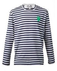 Camiseta de manga larga de rayas horizontales en azul marino y blanco