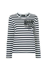 Camiseta de manga larga de rayas horizontales en azul marino y blanco de Comme Des Garcons Play