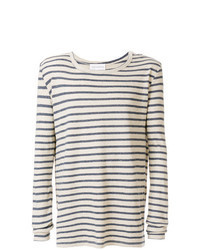 Camiseta de manga larga de rayas horizontales en beige
