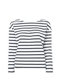 Camiseta de manga larga de rayas horizontales en blanco y azul marino de Loveless