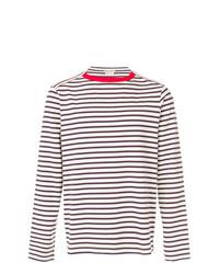 Camiseta de manga larga de rayas horizontales en blanco y azul marino de Marni
