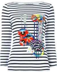 Camiseta de manga larga de rayas horizontales en blanco y azul marino de Mary Katrantzou