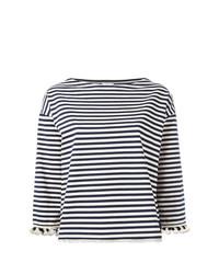 Camiseta de manga larga de rayas horizontales en blanco y azul marino de Moncler