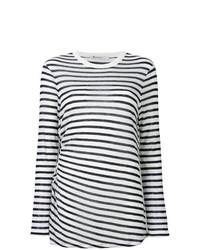 Camiseta de manga larga de rayas horizontales en blanco y azul marino de T by Alexander Wang