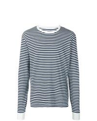 Camiseta de manga larga de rayas horizontales en blanco y azul marino de VISVIM