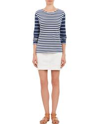 Camiseta de manga larga de rayas horizontales en blanco y azul