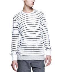 Camiseta de manga larga de rayas horizontales en blanco y negro