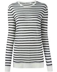 Camiseta de manga larga de rayas horizontales en blanco y negro de Alexander Wang