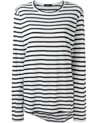 Camiseta de manga larga de rayas horizontales en blanco y negro de Bassike