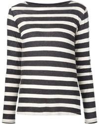Camiseta de manga larga de rayas horizontales en blanco y negro de Majestic Filatures