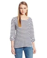Camiseta de manga larga de rayas horizontales en blanco y negro de Splendid