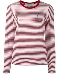 190ea1e3b5 Camiseta de manga larga de rayas horizontales en blanco y rojo