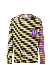 Camiseta de manga larga de rayas horizontales en multicolor de Marni