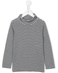 Camiseta de manga larga de rayas horizontales en negro y blanco