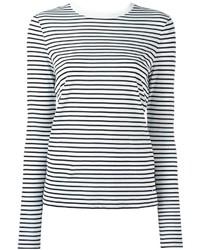Camiseta de manga larga de rayas horizontales en negro y blanco de Alexander Wang