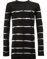 Camiseta de manga larga de rayas horizontales en negro y blanco de Balmain