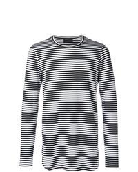 Camiseta de manga larga de rayas horizontales en negro y blanco de Diesel Black Gold