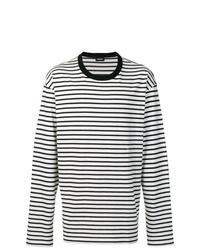 Camiseta de manga larga de rayas horizontales en negro y blanco de Diesel