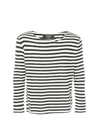 Camiseta de manga larga de rayas horizontales en negro y blanco de Garcons Infideles