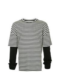 Camiseta de manga larga de rayas horizontales en negro y blanco de Juun.J