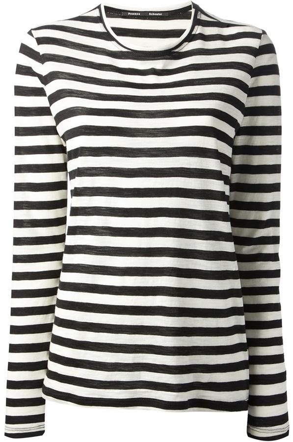 Camiseta de manga larga de rayas horizontales en negro y blanco de Proenza Schouler