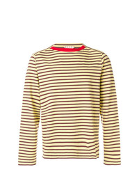 Camiseta de manga larga de rayas horizontales marrón claro de Marni