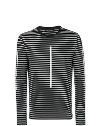 Camiseta de Manga Larga de Rayas Horizontales Negra y Blanca de Neil Barrett