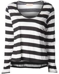 Camiseta de Manga Larga de Rayas Horizontales Negra y Blanca de Otis