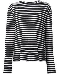 Camiseta de Manga Larga de Rayas Horizontales Negra y Blanca de R 13