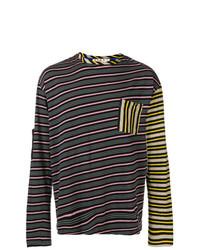 Camiseta de manga larga de rayas horizontales negra de Marni