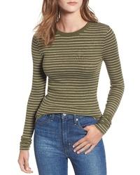 Camiseta de manga larga de rayas horizontales verde oliva