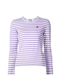 Camiseta de manga larga de rayas horizontales violeta claro de Comme Des Garcons Play
