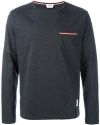 Camiseta de manga larga en gris oscuro de Thom Browne