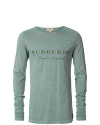 Camiseta de manga larga en verde menta de Burberry