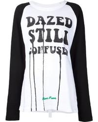 Camiseta de Manga Larga Estampada Blanca y Negra