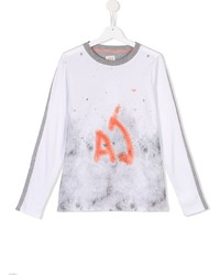 Camiseta de manga larga estampada blanca de Armani Junior