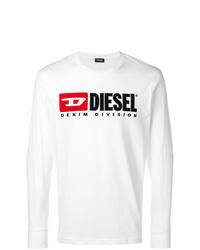 Camiseta de manga larga estampada blanca de Diesel