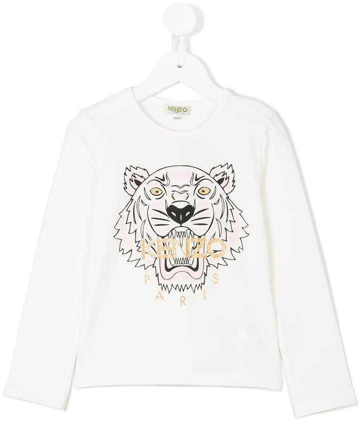 Camiseta de manga larga estampada blanca de Kenzo