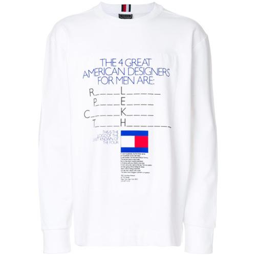 45c6ba1f833 ... Camiseta de manga larga estampada blanca de Tommy Hilfiger ...