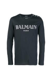 Camiseta de manga larga estampada en azul marino y blanco de Balmain