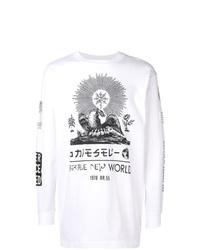 Camiseta de manga larga estampada en blanco y negro de Diesel