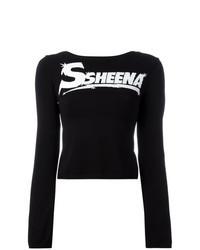 Camiseta de manga larga estampada en negro y blanco