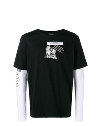 Camiseta de manga larga estampada en negro y blanco de Diesel