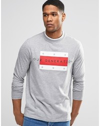 Camiseta de manga larga estampada gris