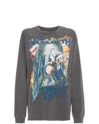 Camiseta de Manga Larga Estampada Gris Oscuro de R13